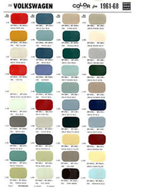 original paint colors vw 1961 1962 1963 1964 1965 1966 1967 1968 volkswagen karmann