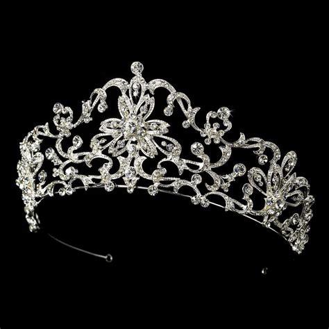Wedding Crown floral silver rhinestone royal bridal prom tiara crown wedding headpiece ebay