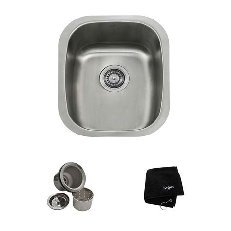 home depot kraus sink kraus 15 in undermount single bowl 18 stainless