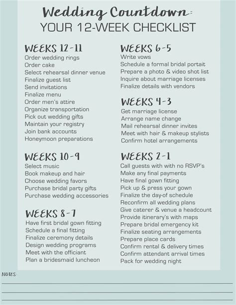 Wedding Checklist By Month For 6 Months by Wedding Countdown Your 12 Week Checklist Printable