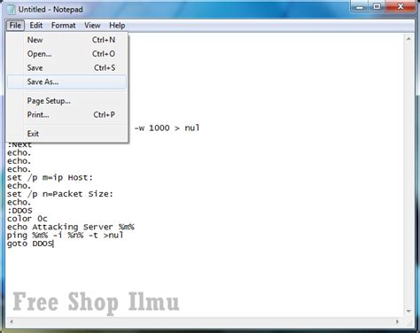 cara membuat web sederhana di notepad cara membuat tool ddos sederhana dari notepad free shop ilmu