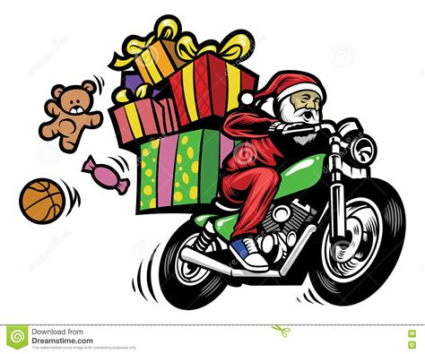santa on a motorcycle santa claus delivering the gift by a