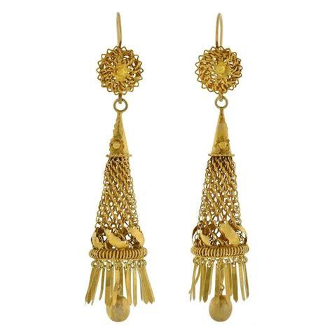Handmade Gold Earrings - dramatic handmade gold caged fringe earrings for