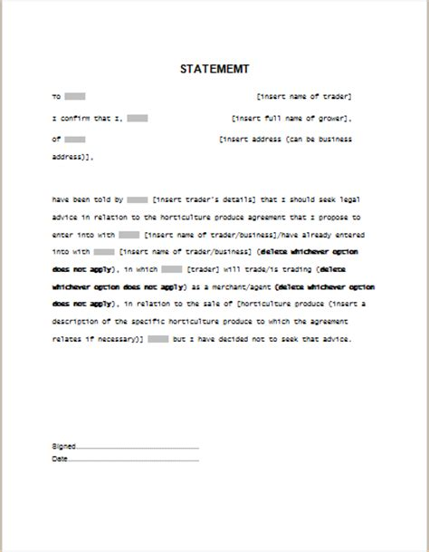 legal statement template for word formal word templates