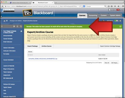 blackboard learn creating a course archive athens state