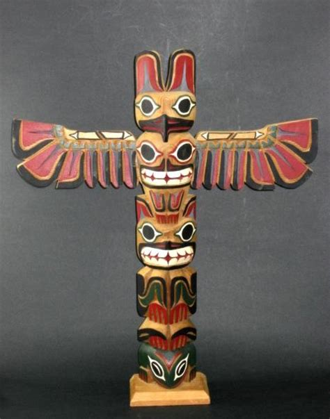 vintage artist signed northwest indian totem pole from the