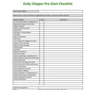 Pre Start Checklist Template by Wood Chipper Pre Start Checklist Aborist App