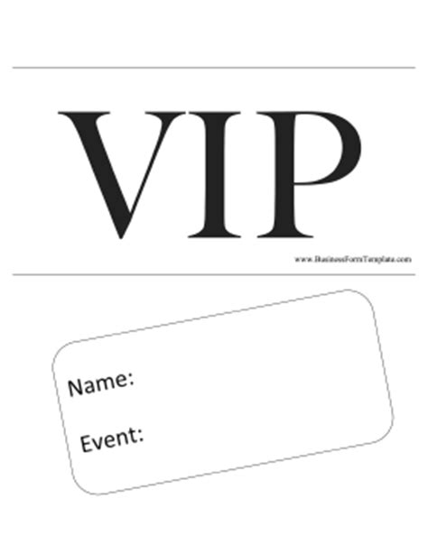 Vip Pass Template Vip Badge Template