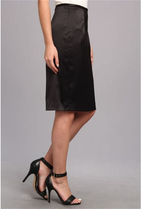 papell stretch satin pencil skirt in black lyst