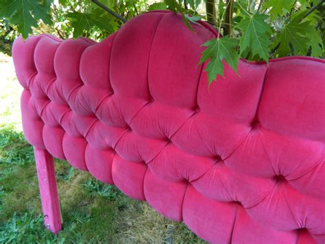 reserved vintage pink velvet tufted headboard full by