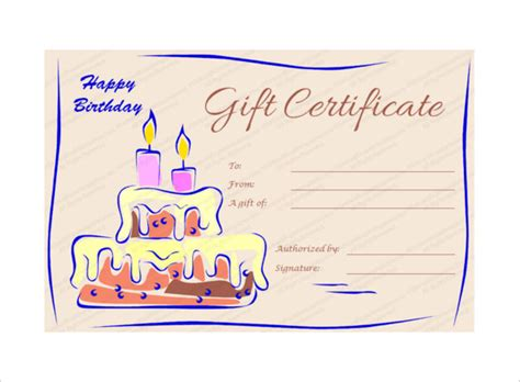 Birthday Card Gift Certificate Template by Birthday Gift Certificate Templates 16 Free Word Pdf