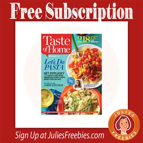 free taste of home subscription julie s freebies
