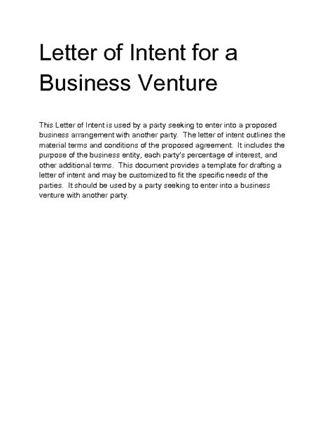Letter Of Intent On Partnership Sle Letter Of Intent For Business Venture Cover Letter Templates