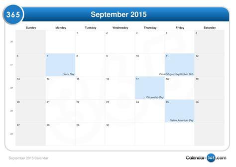 Calendar Sept 2015 September 2015 Calendar
