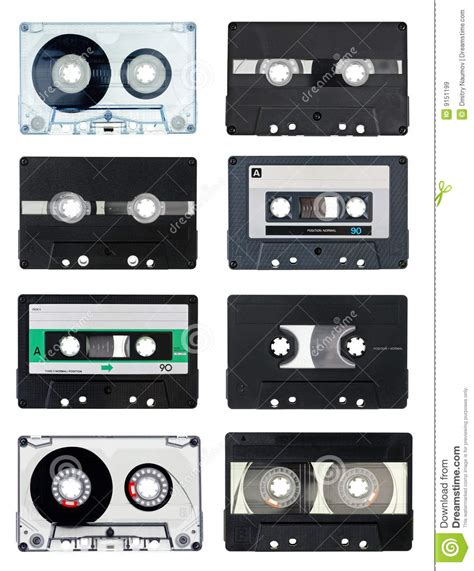7 Audio Cassettes And 3 Video Cassettes by Compact Cassettes Royalty Free Stock Images Image 9151199