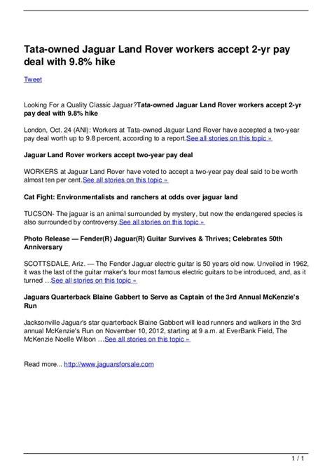 tata jaguar deal tata owned jaguar land rover workers accept 2 yr pay deal