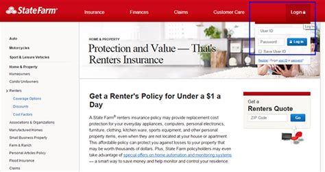 state farm renters insurance login   payment