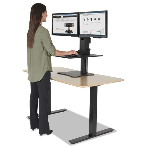 Sit Stand Desk Converter High Rise Dual Monitor Sit Stand Workstation By Victor 174 Vctdc350 Ontimesupplies