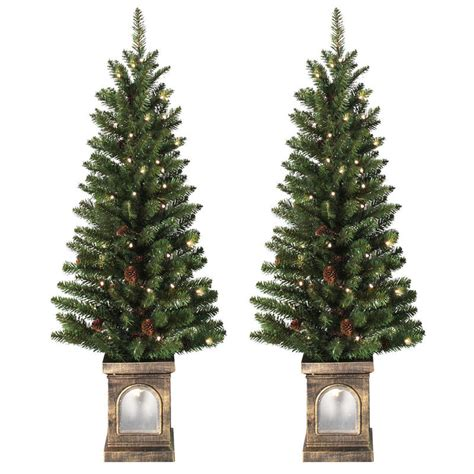 prelit battery operated potted christmas tree battery operated set of 2 pre lit 4ft 120cm green pathway trees