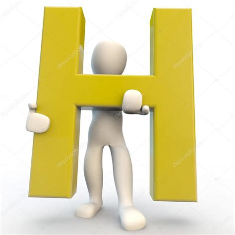 Character Holding Letter 3d human character holding yellow letter h stock photo