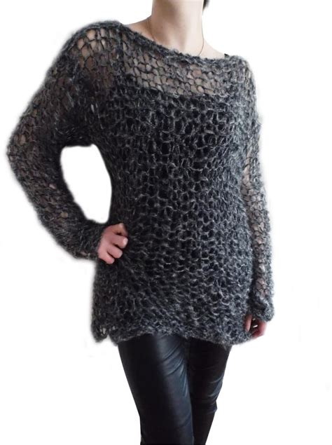 knitting pattern holey jumper ripleys clothing grey twinkle fluffy holey top knit jumper