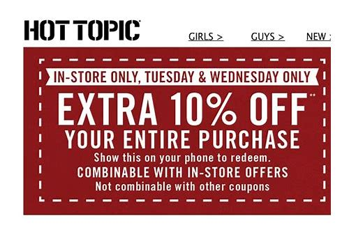 discount coupon hot topic