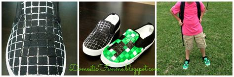 diy minecraft shoes domestic femme minecraft creeper shoes