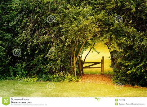 secret garden stock photo image  arch gate garden