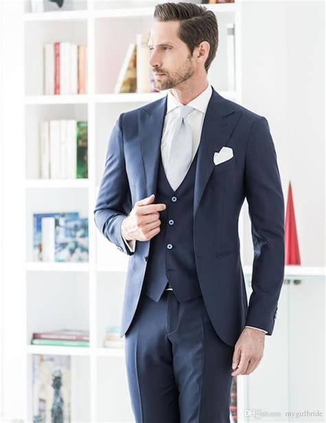 Navy Blue 2018 New Design Groom Wear Slim Fit Wedding