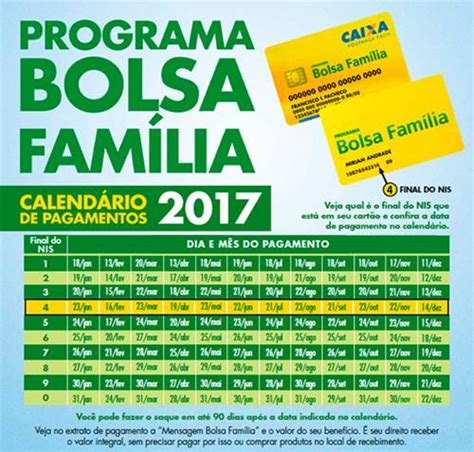 Calendario Cartao Bolsa Familia Calend 225 Do Bolsa Fam 237 Lia 2017 Blogando Noticias