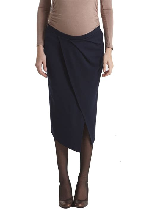 uma draped midi maternity skirt in navy by mothers en vogue