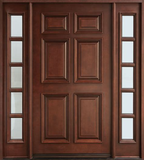 wood front entry door front door custom single with 2 sidelites solid wood with mahogany finish classic