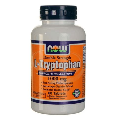 supplement l tryptophan now foods l tryptophan 1 000 mg 60 tablets evitamins