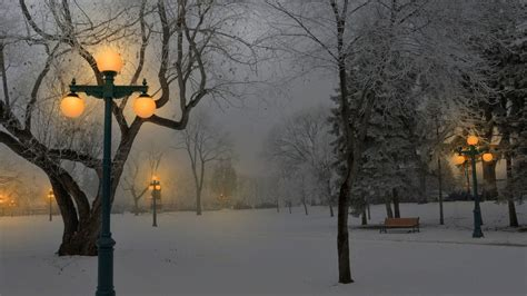 winter snow park benches lamps light hd wallpaper