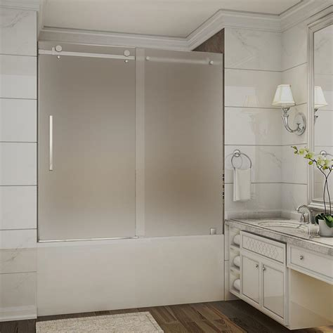 Shower Doors Frosted Glass Aston Moselle 56 In To 60 In X 60 In Completely Frameless Sliding Tub Door With Frosted Glass