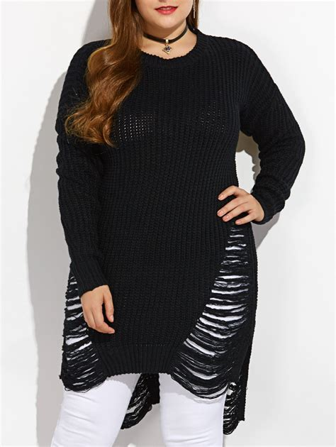 Ripped Sweater black m high low ripped plus size crew neck sweater