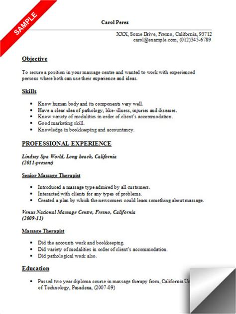 therapist resume sle