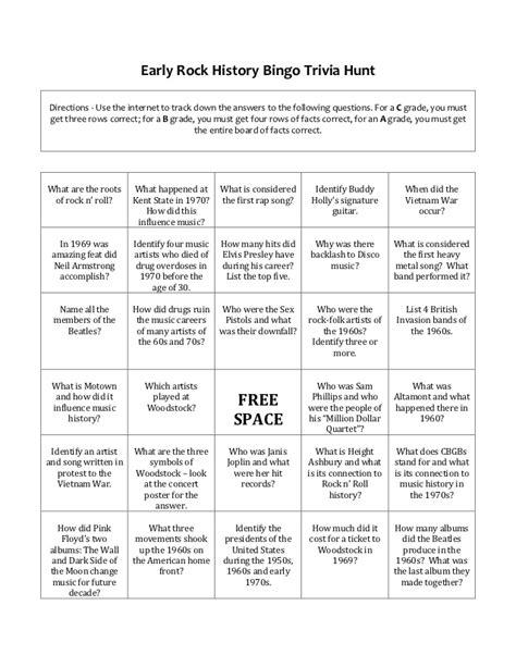 printable quiz about black history early rock history bingo trivia hunt
