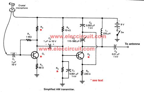 2 transistor fm transmitter circuit simple two transistors am transmitter circuit