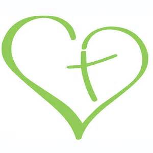 Lime Green And Black Kitchen Accessories - heart with cross vinyl decal