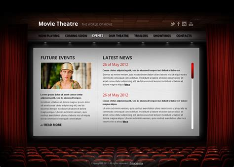 movie theatre the world of movie html5 template on behance