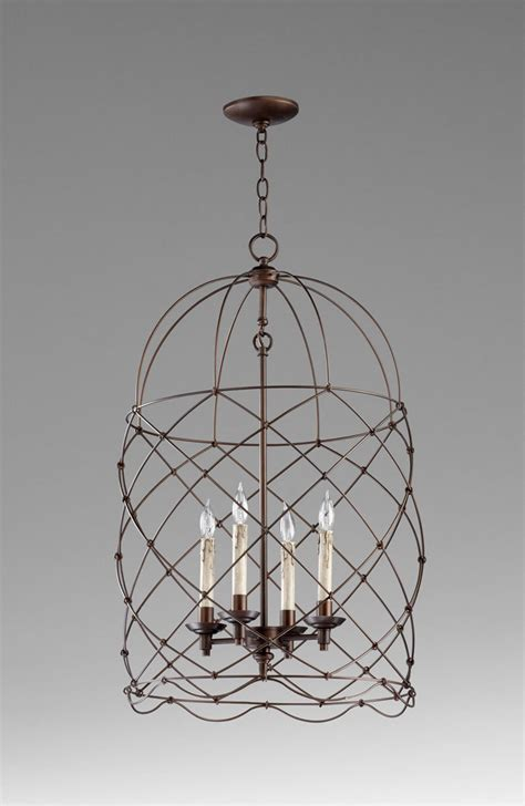 Bird Cage Pendant Light Wire Bird Cage Foyer 4 Light Pendant 31 Quot H Rubbed Bronze Vintage Chic Chandeliers