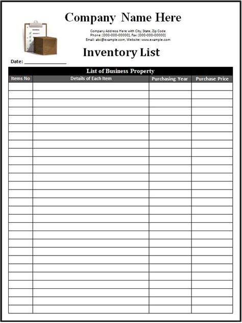 inventory list template printable blank inventory list calendar template 2016