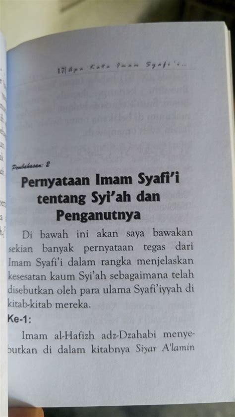 Syiah Merajalela Di Tengah Ahlus Sunnah buku apa kata imam syafi i ulama syafi iyyah tentang