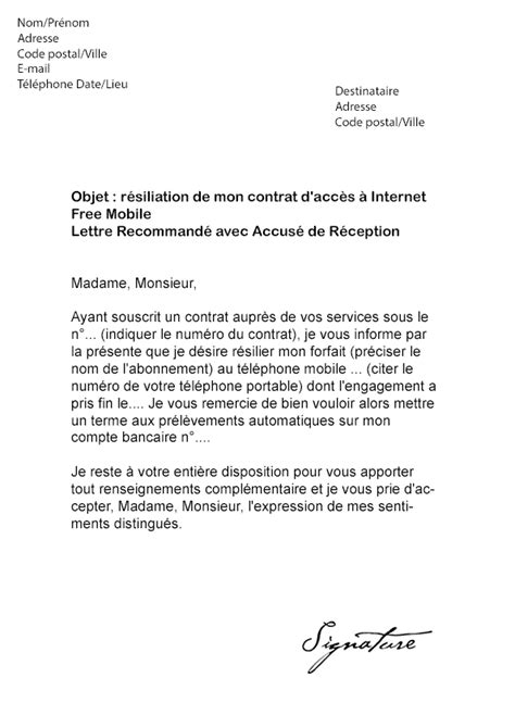 Lettre De Rã Siliation Modele Resiliation Sfr Mobile Document