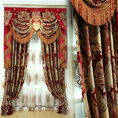 red and gold drapes vintage gold red embroidery leaf elegant curtains