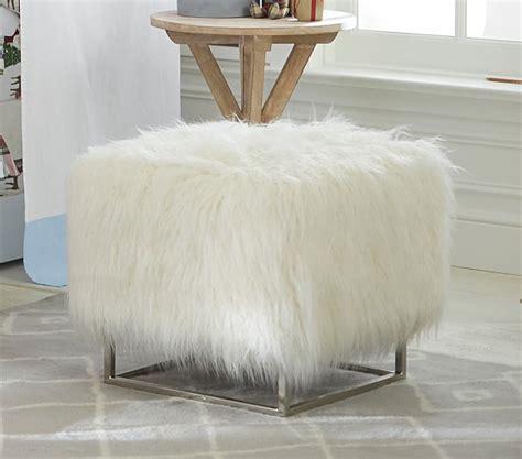 white faux fur ottoman mongolian ottoman faux mongolian fur white pottery barn