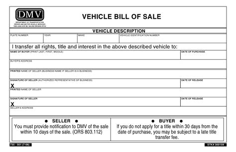 Free Oregon Vehicle Bill Of Sale Pdf Word Do It Yourself Forms Bill Of Sale Form Nc Template