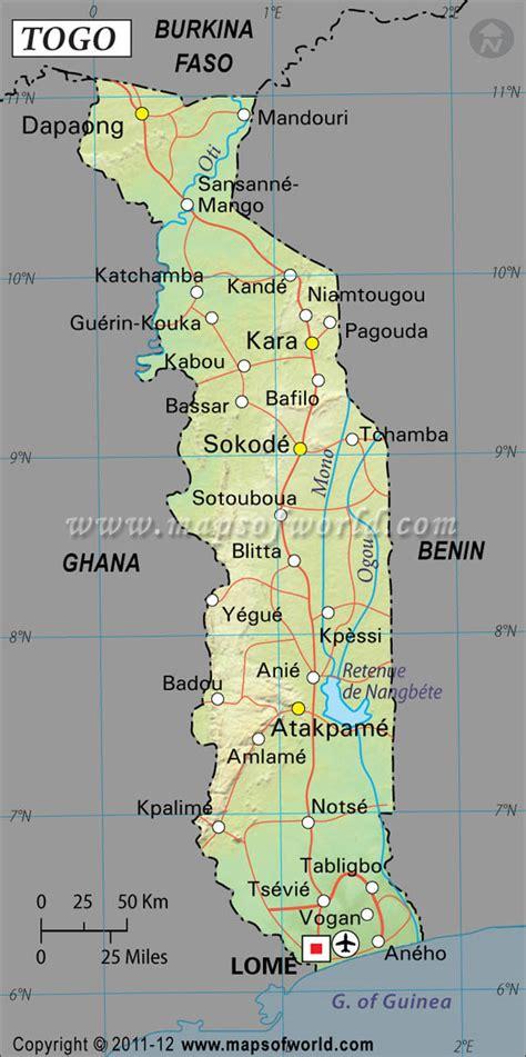 physical map of togo togo latitude and longitude map