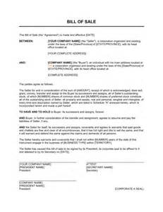 bill of sale for corporations template amp sample form